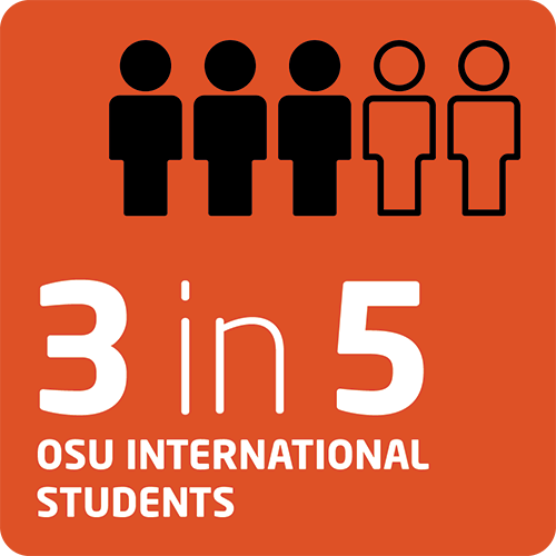 Infographic detailing the number of students at the bachelor's and master's level that have studied in an INTO OSU program